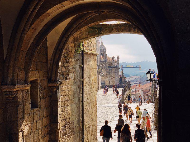 Georganiseerde wandeling naar Santiago